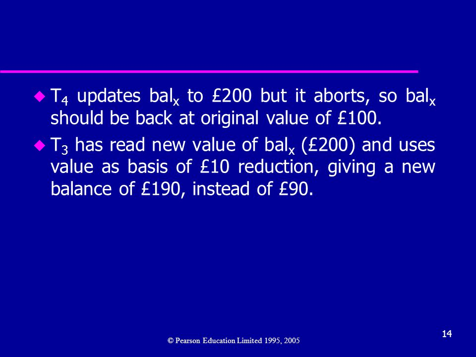 T4 updates balx to £200 but it aborts, so balx should be back at original value of £100.