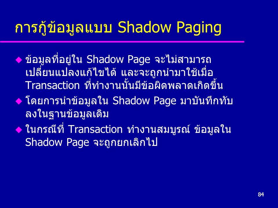 การกู้ข้อมูลแบบ Shadow Paging