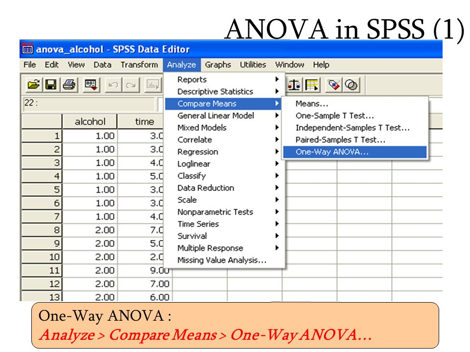 ANOVA in SPSS (1) One-Way ANOVA :