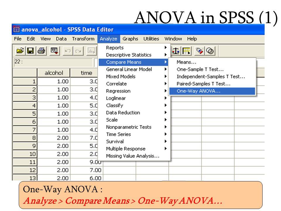 ANOVA in SPSS (1) One-Way ANOVA :
