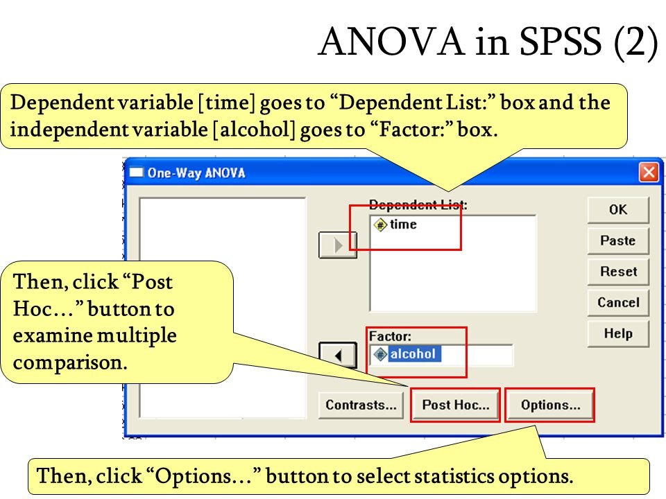 ANOVA in SPSS (2) Dependent variable [time] goes to Dependent List: box and the independent variable [alcohol] goes to Factor: box.