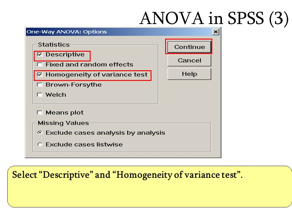 ANOVA in SPSS (3) Select Descriptive and Homogeneity of variance test .