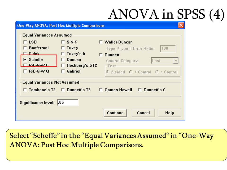ANOVA in SPSS (4) Select Scheffe in the Equal Variances Assumed in One-Way ANOVA: Post Hoc Multiple Comparisons.