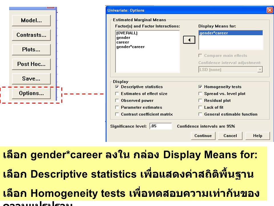 เลือก gender*career ลงใน กล่อง Display Means for: