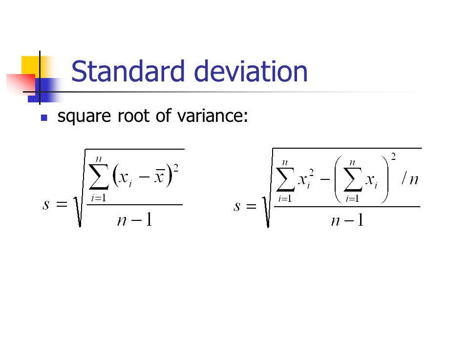 Standard deviation square root of variance: