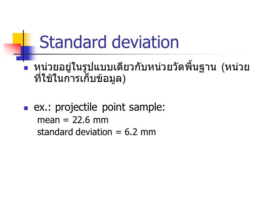 Standard deviation หน่วยอยู่ในรูปแบบเดียวกับหน่วยวัดพื้นฐาน (หน่วยที่ใช้ในการเก็บข้อมูล) ex.: projectile point sample: