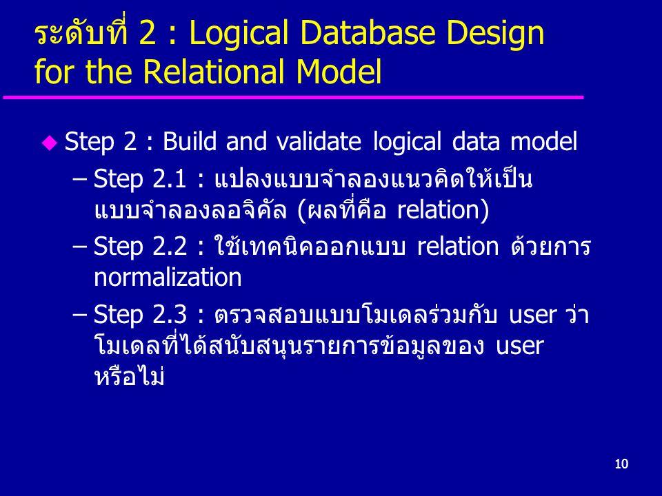 ระดับที่ 2 : Logical Database Design for the Relational Model
