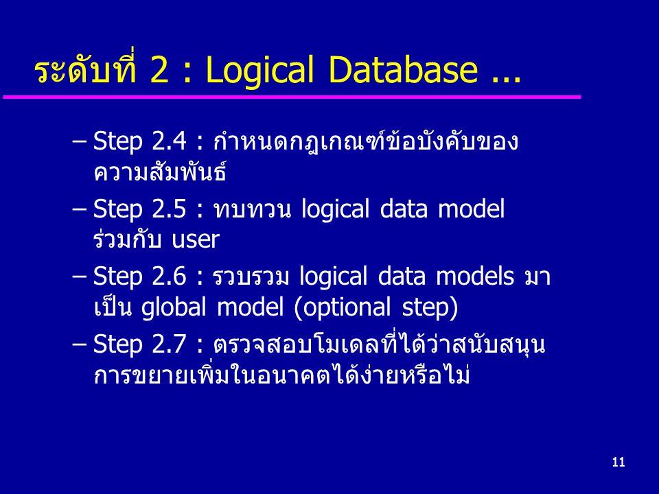 ระดับที่ 2 : Logical Database ...
