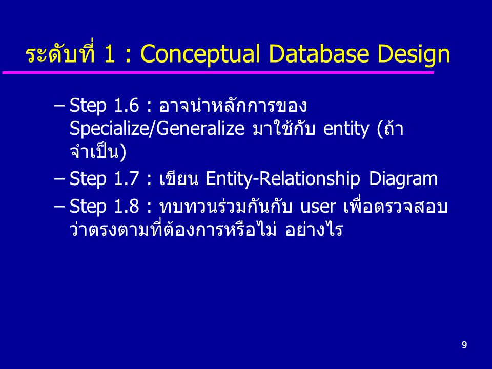 ระดับที่ 1 : Conceptual Database Design