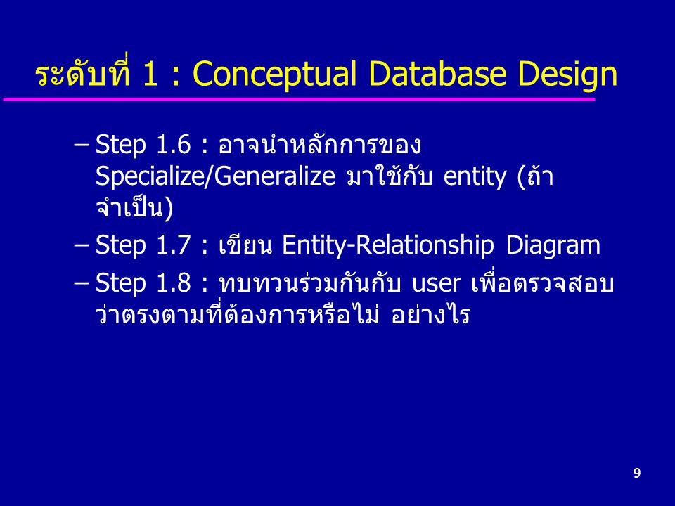 ระดับที่ 1 : Conceptual Database Design