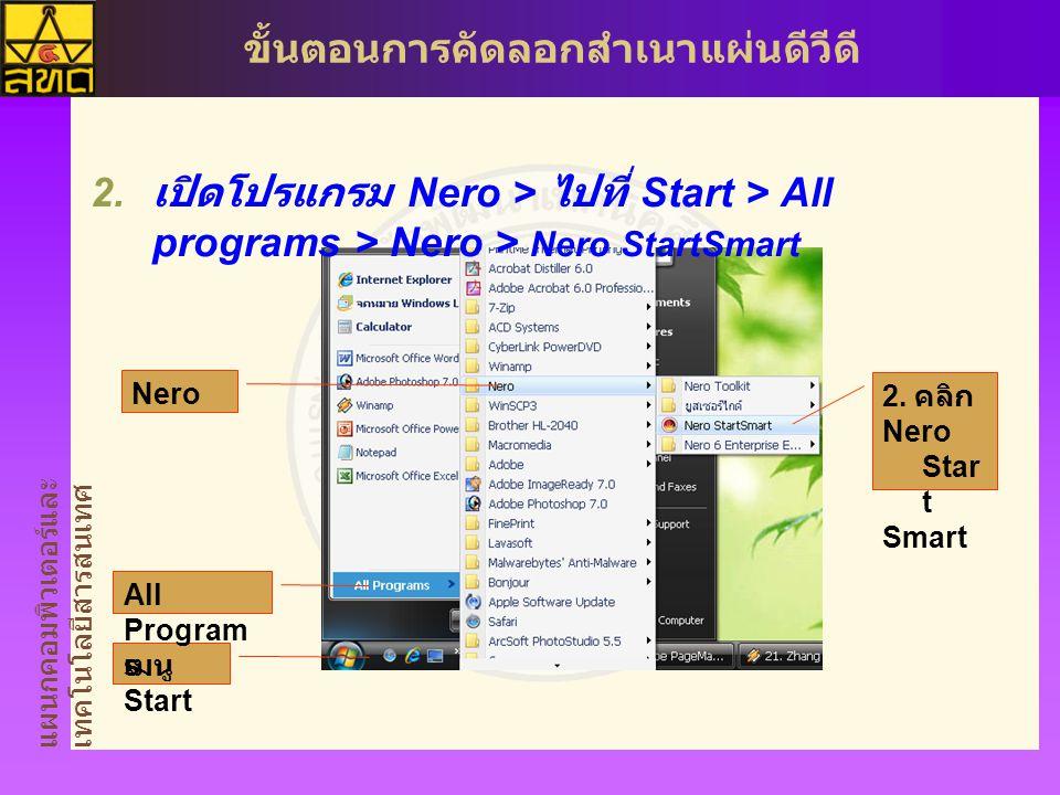 เปิดโปรแกรม Nero > ไปที่ Start > All programs > Nero > Nero StartSmart