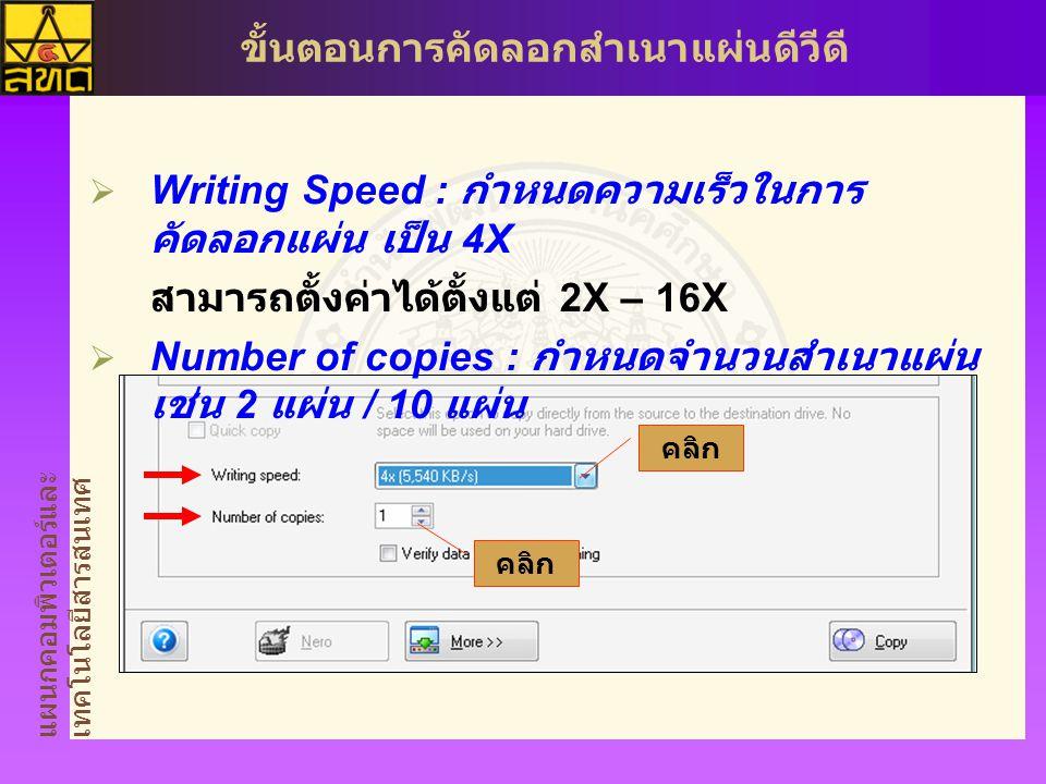 Writing Speed : กำหนดความเร็วในการคัดลอกแผ่น เป็น 4X