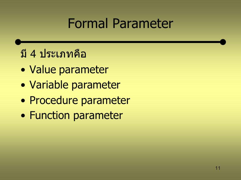 Formal Parameter มี 4 ประเภทคือ Value parameter Variable parameter