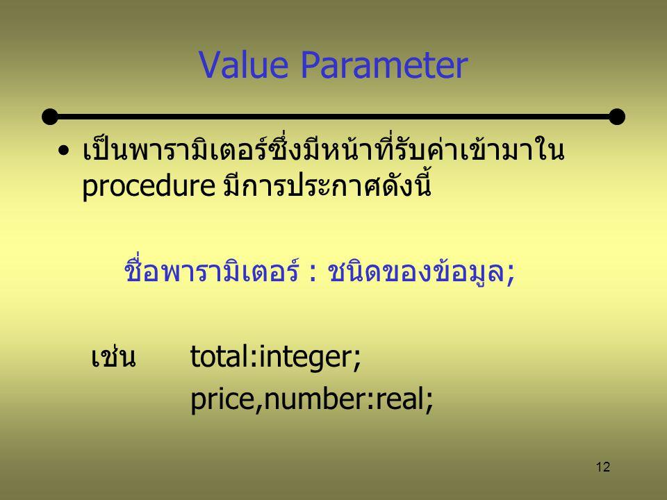 Value Parameter เป็นพารามิเตอร์ซึ่งมีหน้าที่รับค่าเข้ามาใน procedure มีการประกาศดังนี้ ชื่อพารามิเตอร์ : ชนิดของข้อมูล;