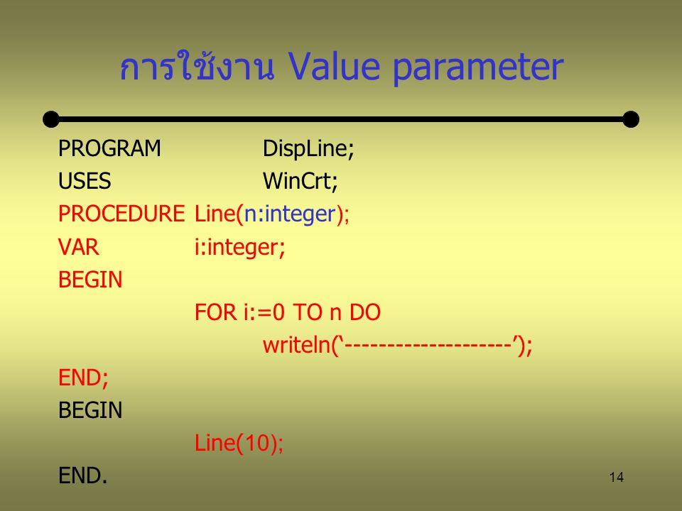 การใช้งาน Value parameter