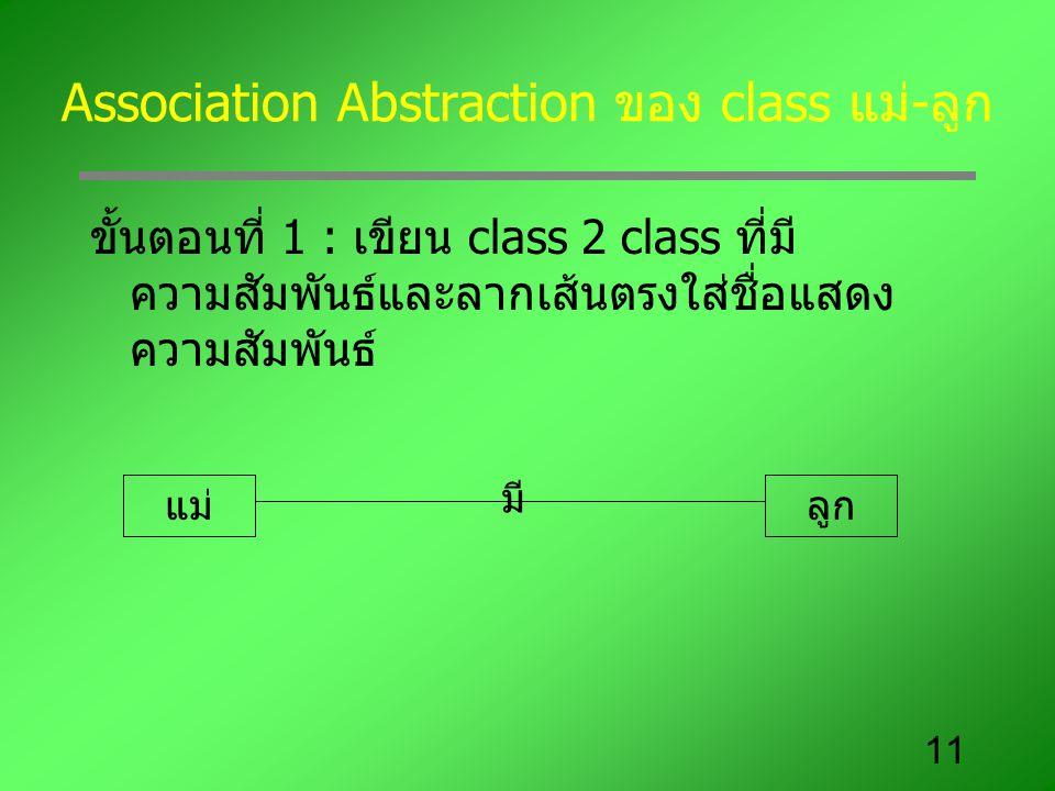 Association Abstraction ของ class แม่-ลูก