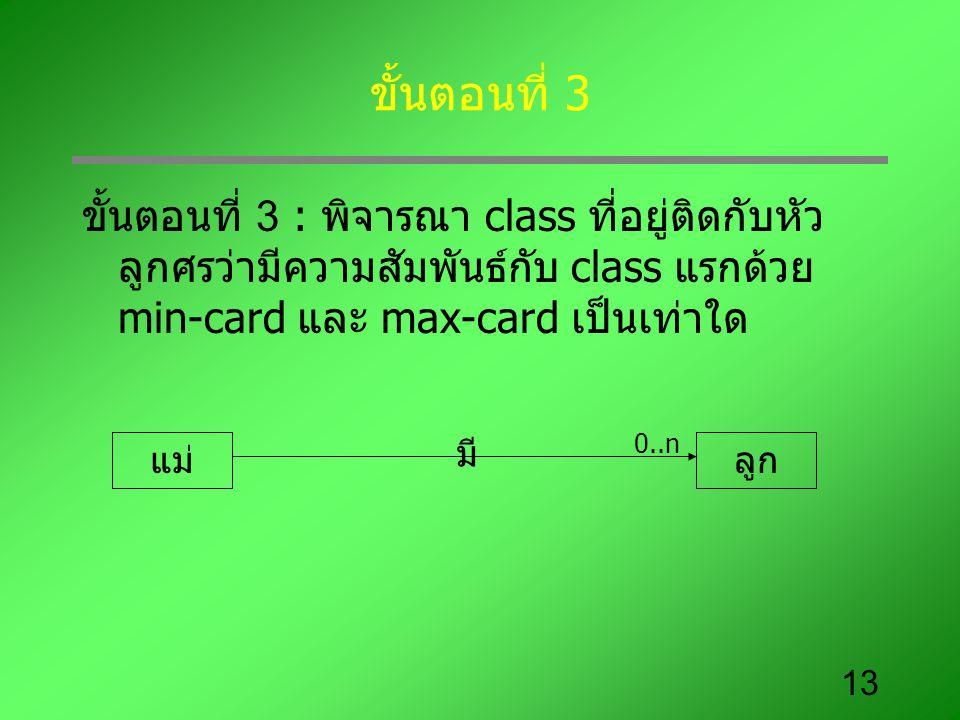 ขั้นตอนที่ 3 ขั้นตอนที่ 3 : พิจารณา class ที่อยู่ติดกับหัวลูกศรว่ามีความสัมพันธ์กับ class แรกด้วย min-card และ max-card เป็นเท่าใด.