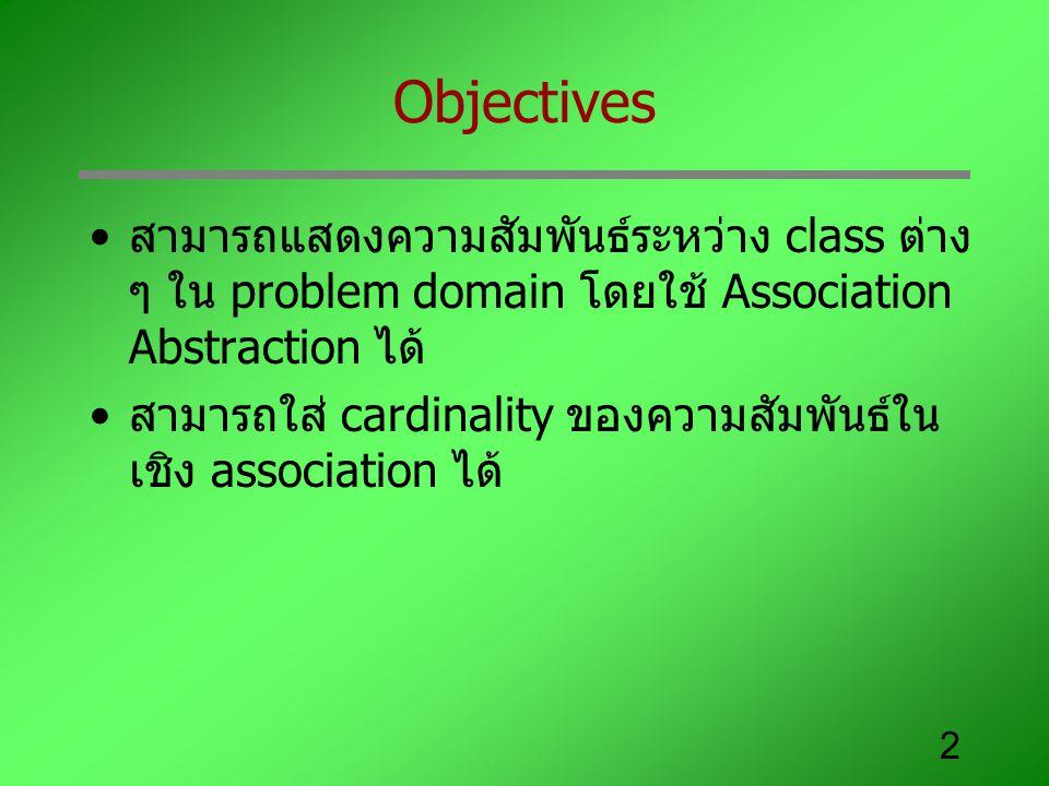 Objectives สามารถแสดงความสัมพันธ์ระหว่าง class ต่าง ๆ ใน problem domain โดยใช้ Association Abstraction ได้