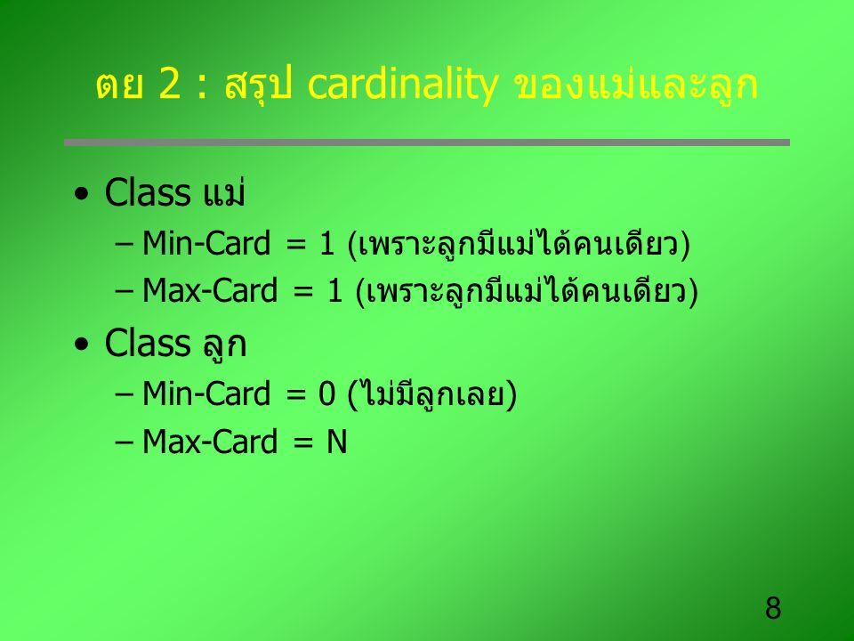 ตย 2 : สรุป cardinality ของแม่และลูก