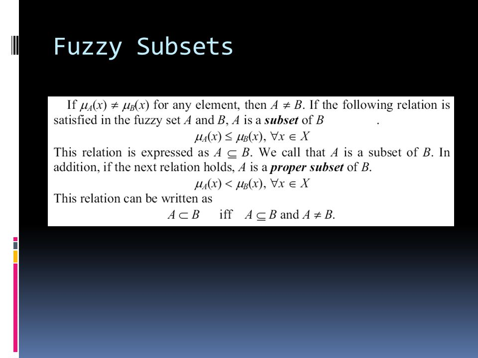 Fuzzy Subsets
