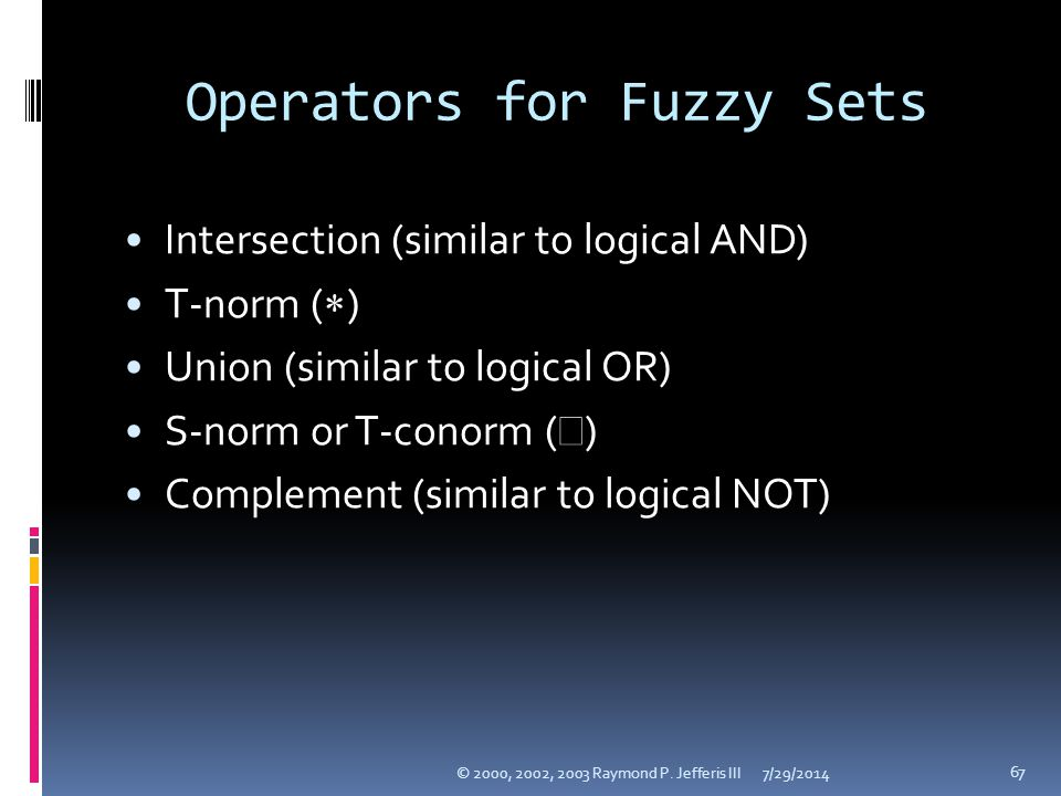 Operators for Fuzzy Sets