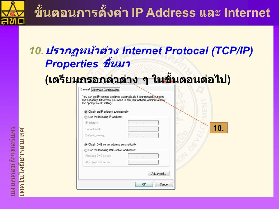 ปรากฏหน้าต่าง Internet Protocal (TCP/IP) Properties ขึ้นมา