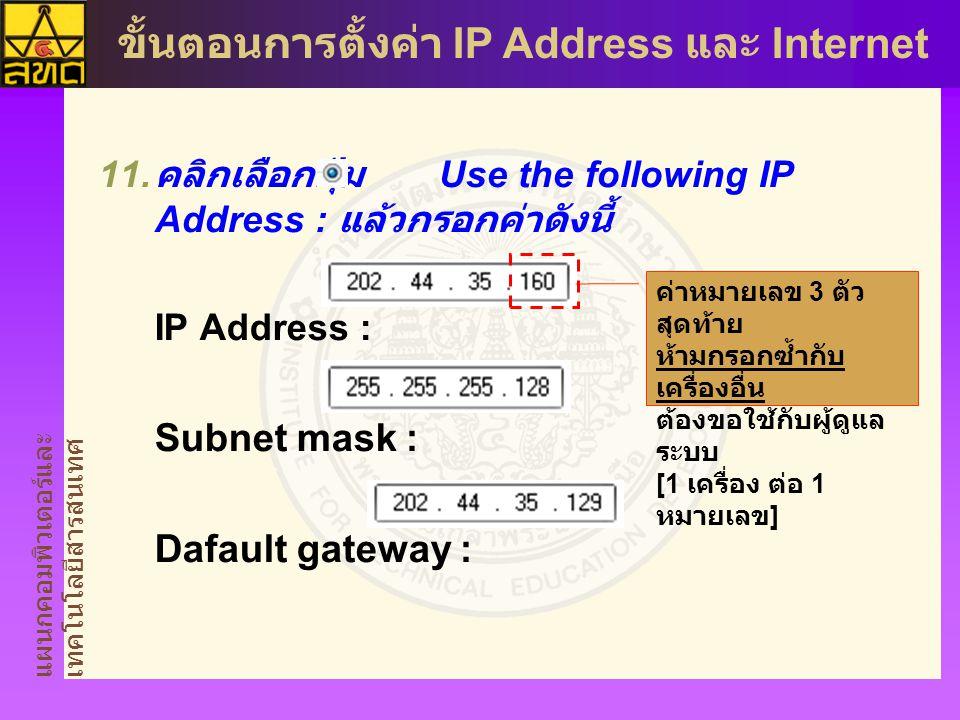 Subnet mask : Dafault gateway :