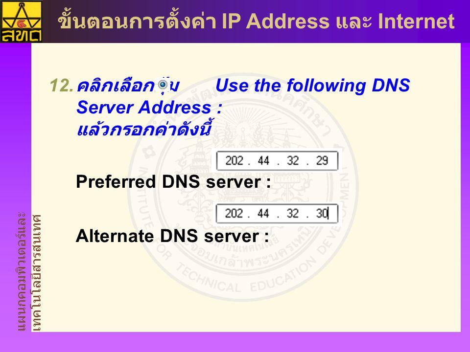 คลิกเลือกปุ่ม Use the following DNS Server Address : แล้วกรอกค่าดังนี้