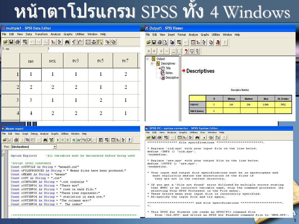 หน้าตาโปรแกรม SPSS ทั้ง 4 Windows