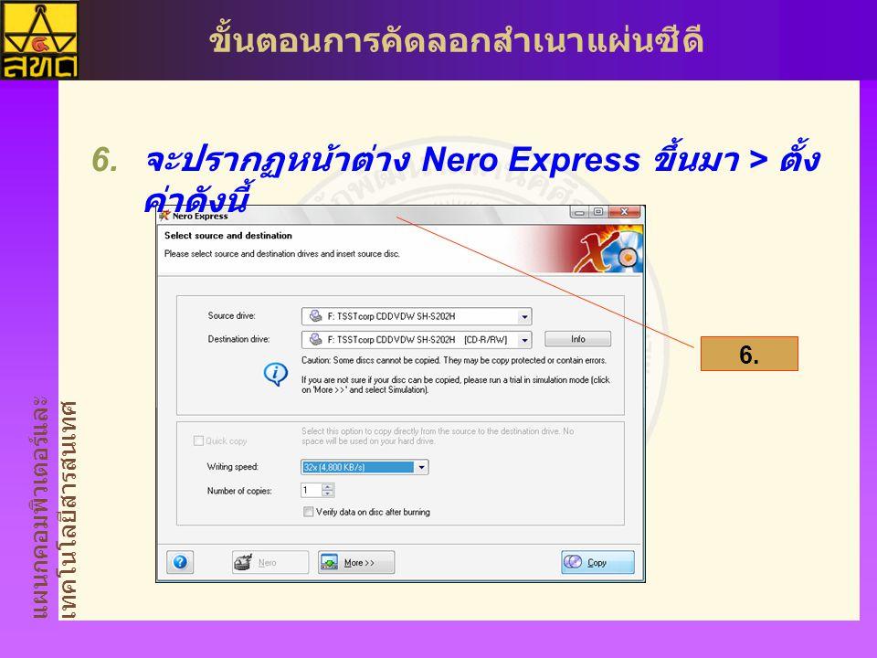 จะปรากฏหน้าต่าง Nero Express ขึ้นมา > ตั้งค่าดังนี้