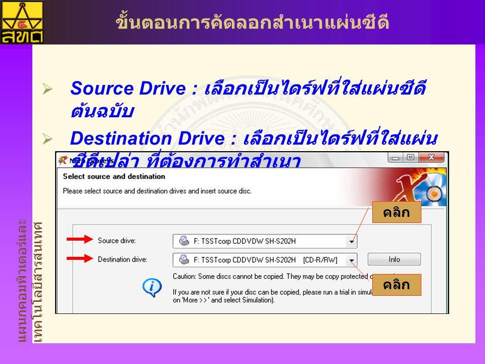 Source Drive : เลือกเป็นไดร์ฟที่ใส่แผ่นซีดีต้นฉบับ