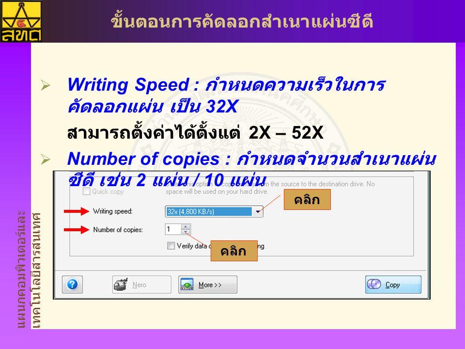 Writing Speed : กำหนดความเร็วในการคัดลอกแผ่น เป็น 32X