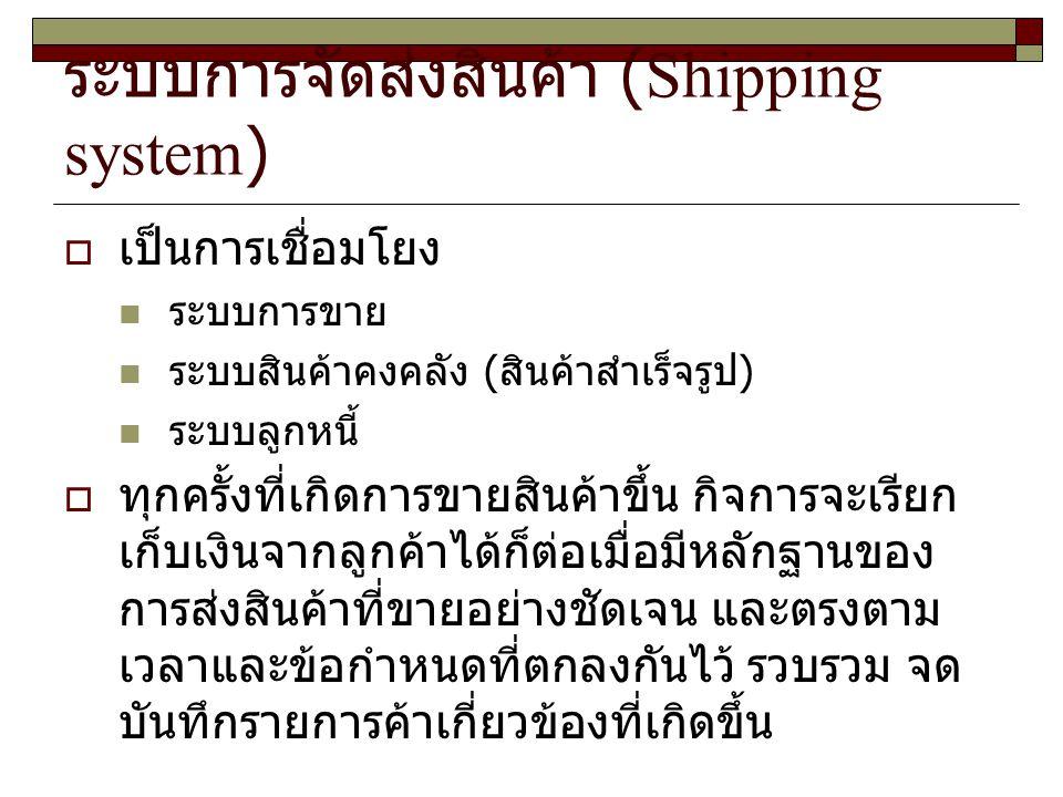 ระบบการจัดส่งสินค้า (Shipping system)