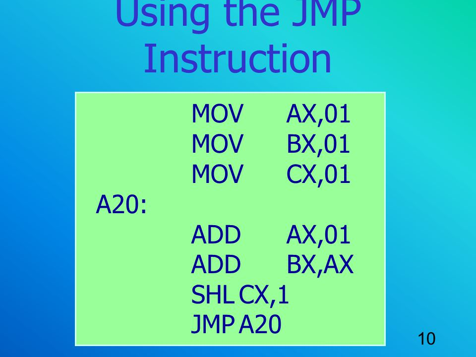 Using the JMP Instruction
