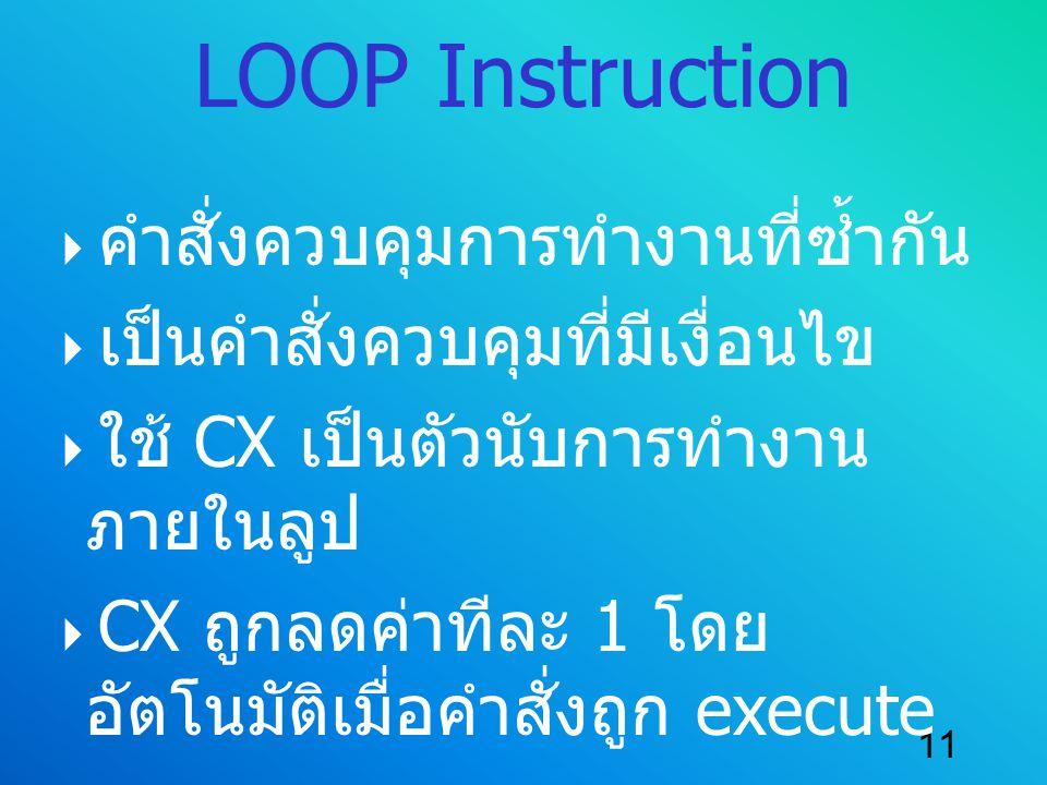LOOP Instruction คำสั่งควบคุมการทำงานที่ซ้ำกัน