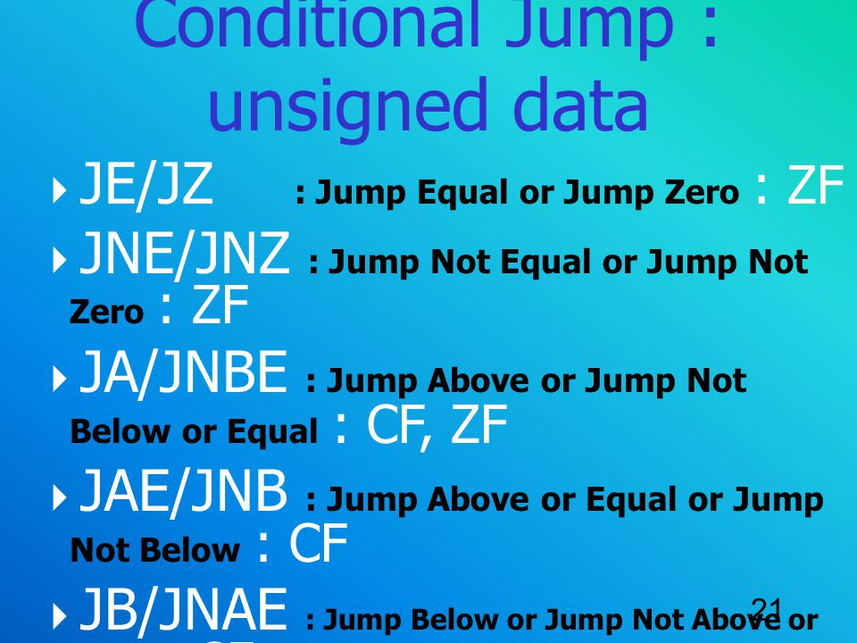 Conditional Jump : unsigned data