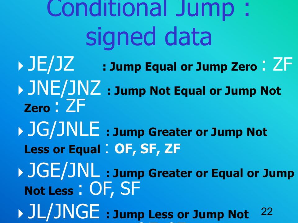 Conditional Jump : signed data