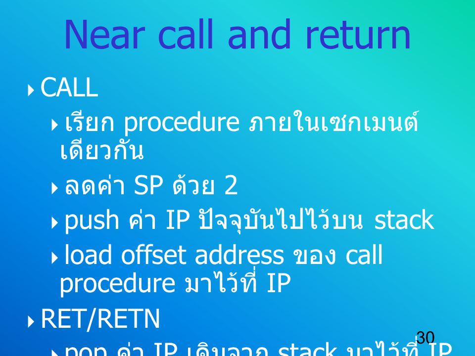 Near call and return CALL เรียก procedure ภายในเซกเมนต์เดียวกัน