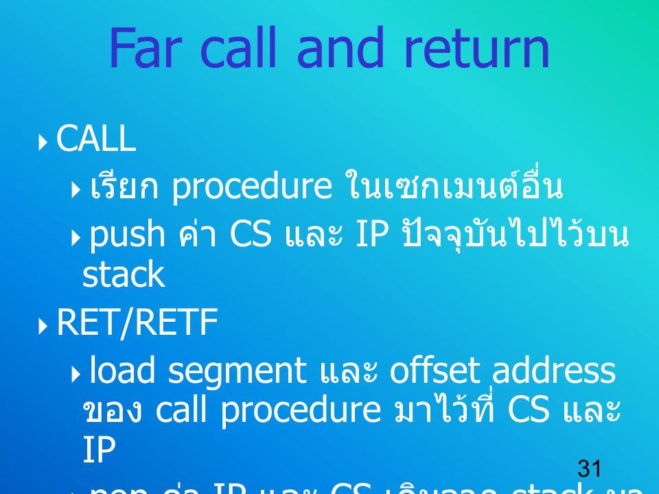 Far call and return CALL เรียก procedure ในเซกเมนต์อื่น