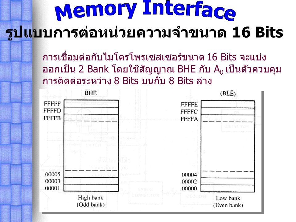 รูปแบบการต่อหน่วยความจำขนาด 16 Bits