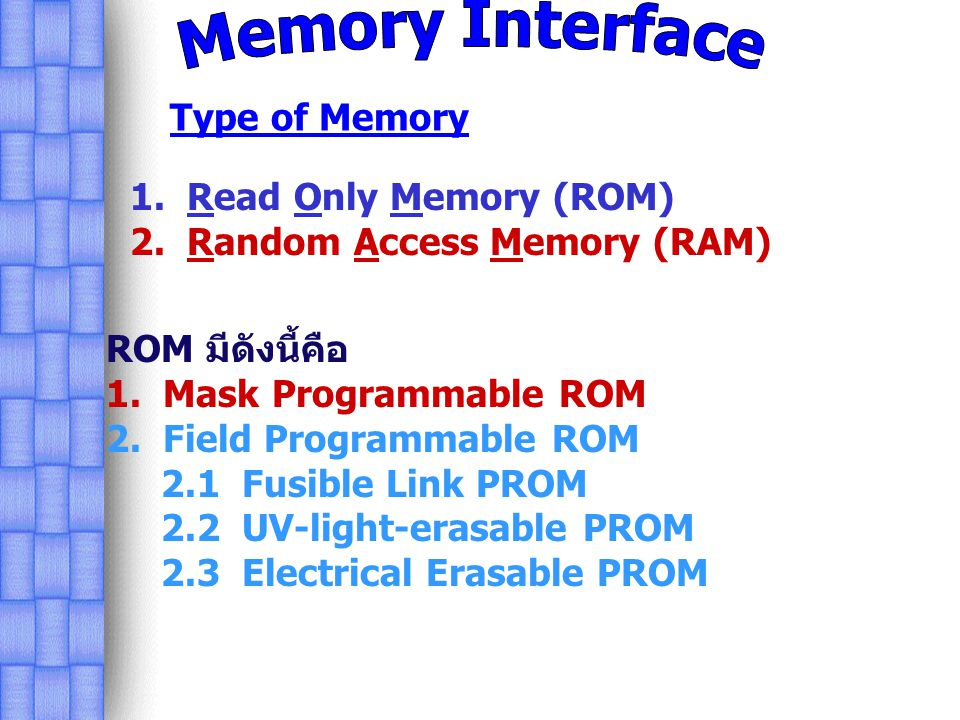Memory Interface Type of Memory 1. Read Only Memory (ROM)