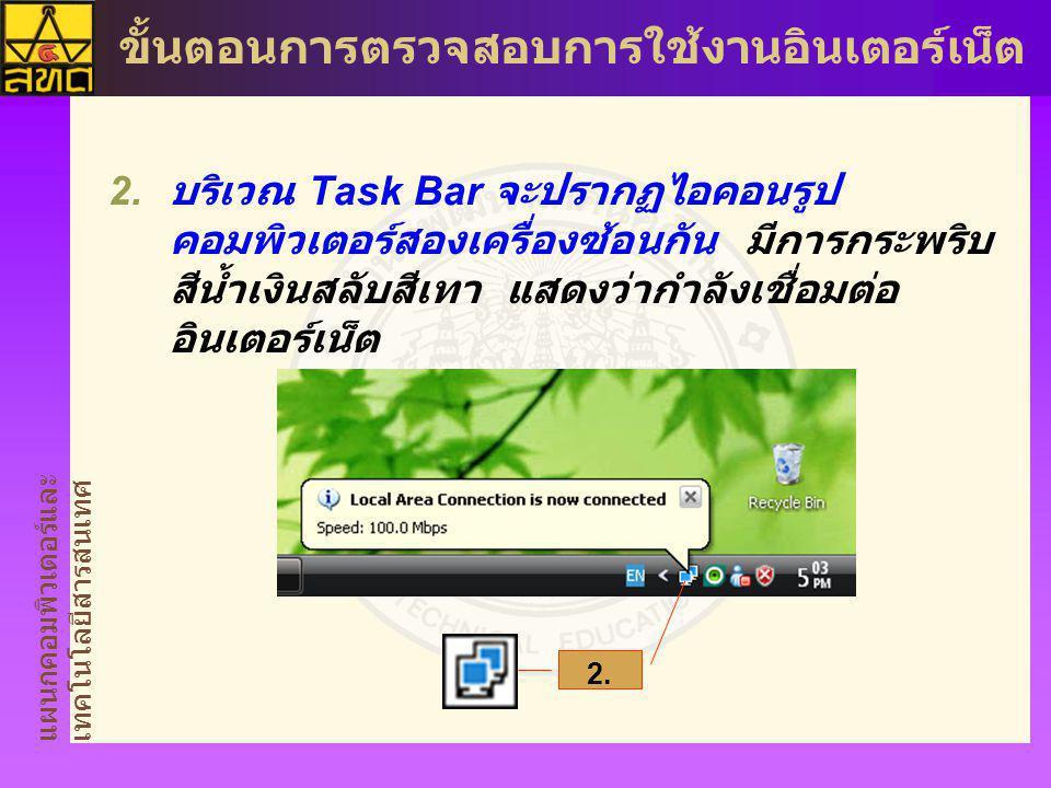 บริเวณ Task Bar จะปรากฏไอคอนรูปคอมพิวเตอร์สองเครื่องซ้อนกัน มีการกระพริบสีน้ำเงินสลับสีเทา แสดงว่ากำลังเชื่อมต่ออินเตอร์เน็ต