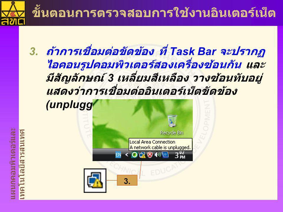 ถ้าการเชื่อมต่อขัดข้อง ที่ Task Bar จะปรากฏไอคอนรูปคอมพิวเตอร์สองเครื่องซ้อนกัน และมีสัญลักษณ์ 3 เหลี่ยมสีเหลือง วางซ้อนทับอยู่ แสดงว่าการเชื่อมต่ออินเตอร์เน็ตขัดข้อง (unplugged)