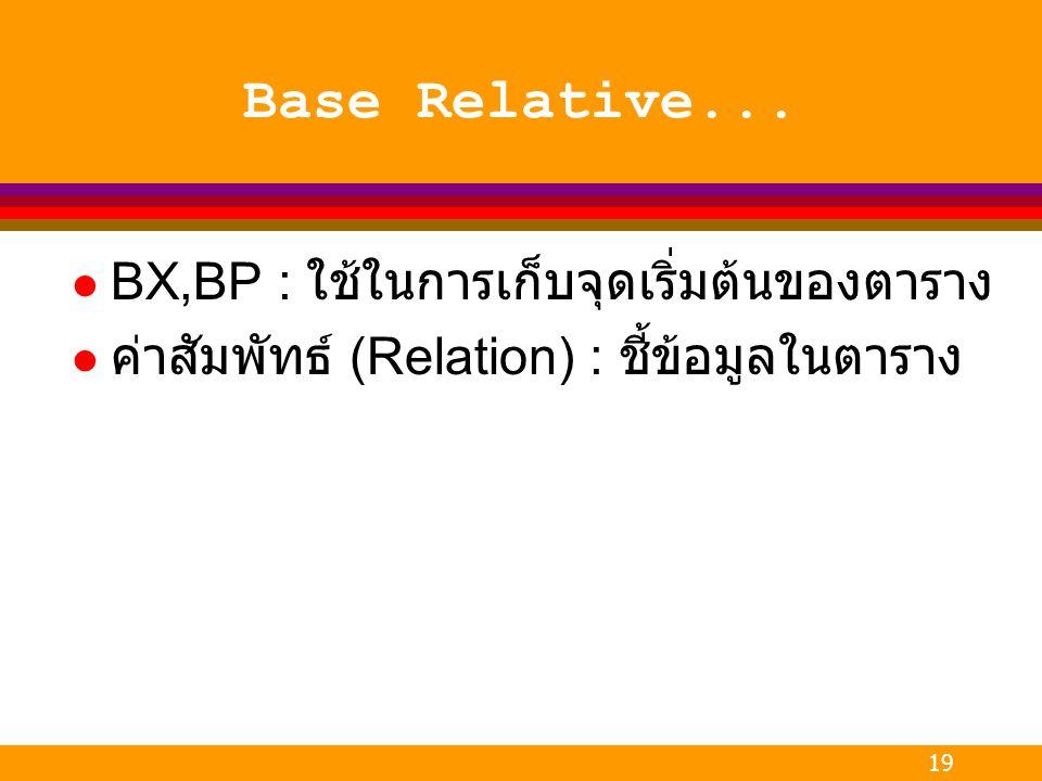 Base Relative... BX,BP : ใช้ในการเก็บจุดเริ่มต้นของตาราง