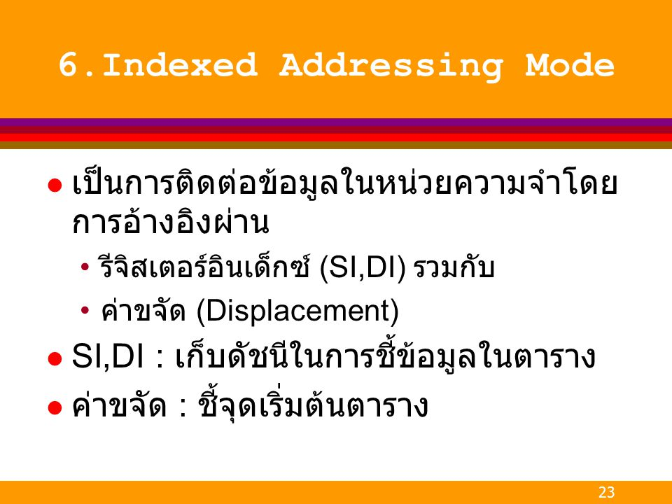 6.Indexed Addressing Mode
