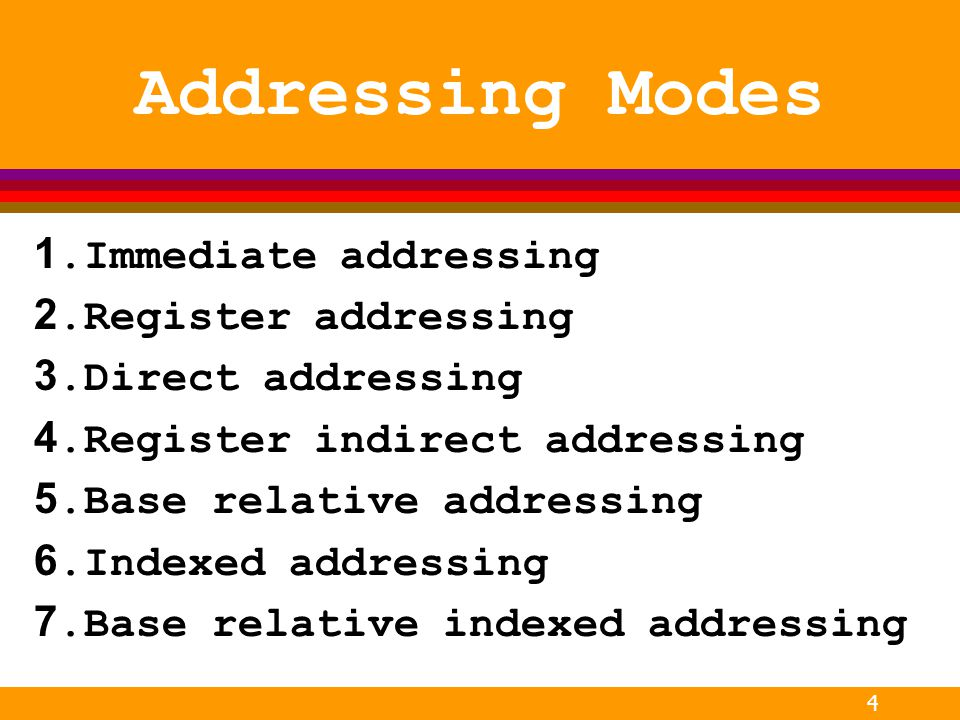 Addressing Modes 1.Immediate addressing 2.Register addressing