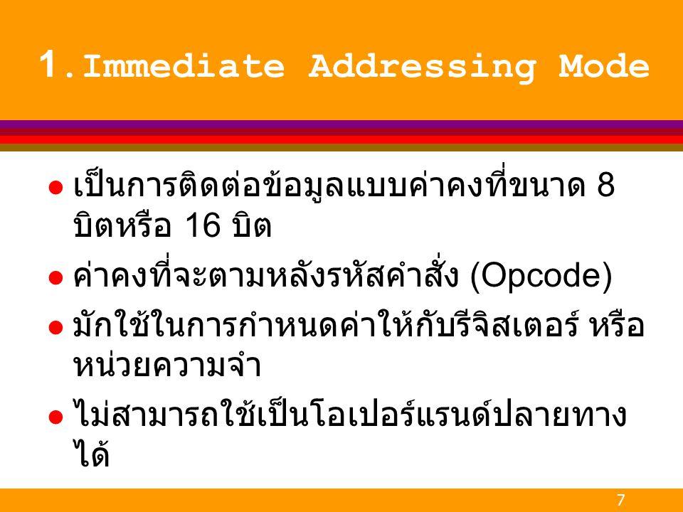 1.Immediate Addressing Mode