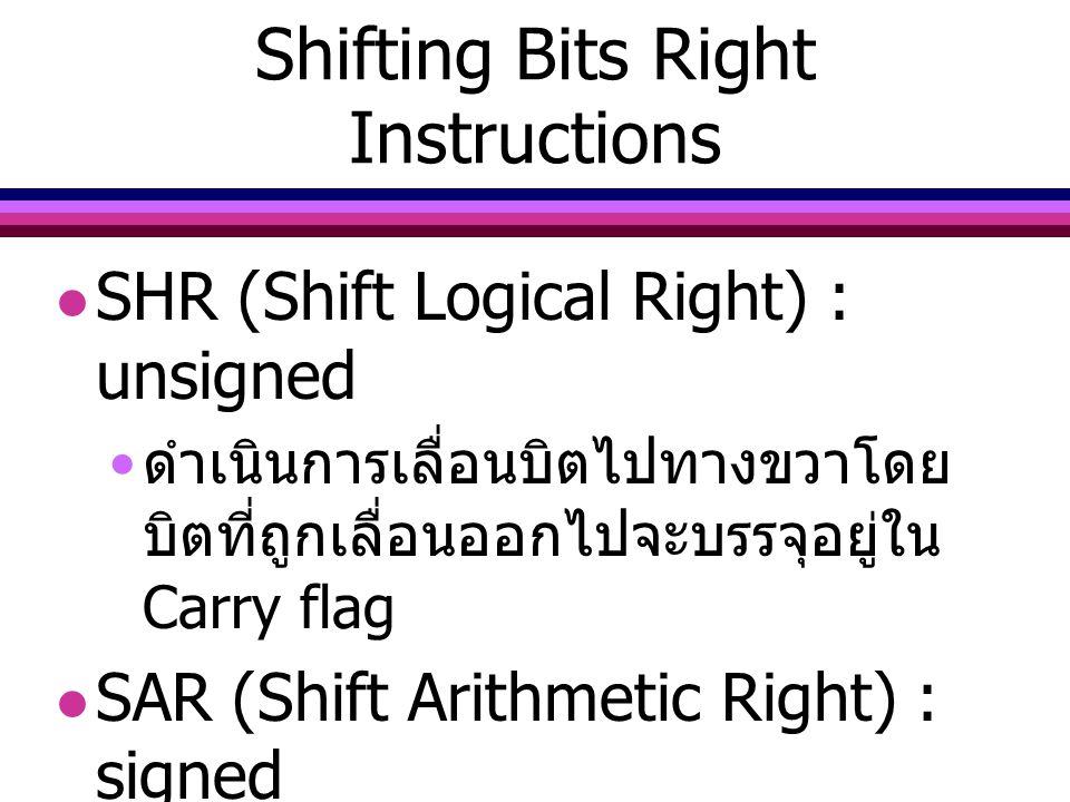 Shifting Bits Right Instructions