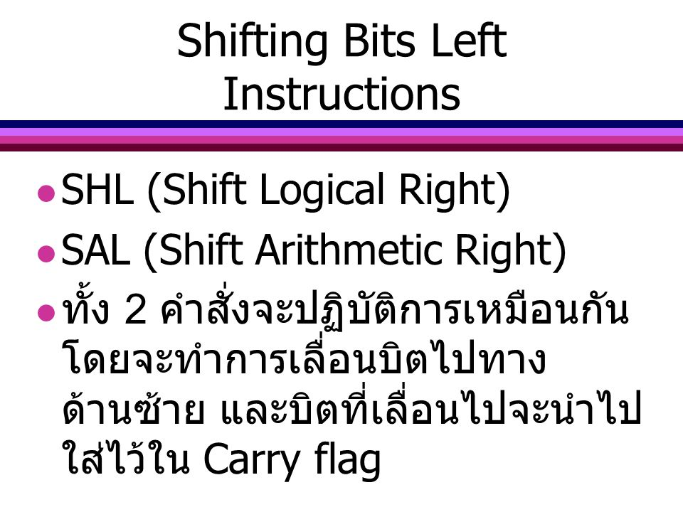 Shifting Bits Left Instructions
