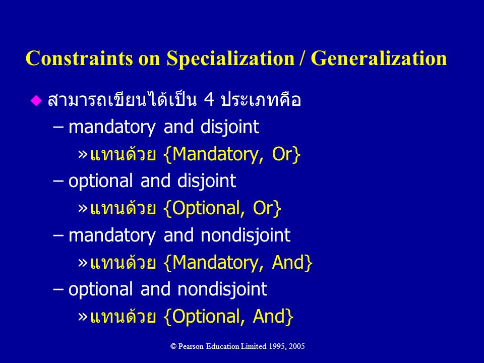 Constraints on Specialization / Generalization